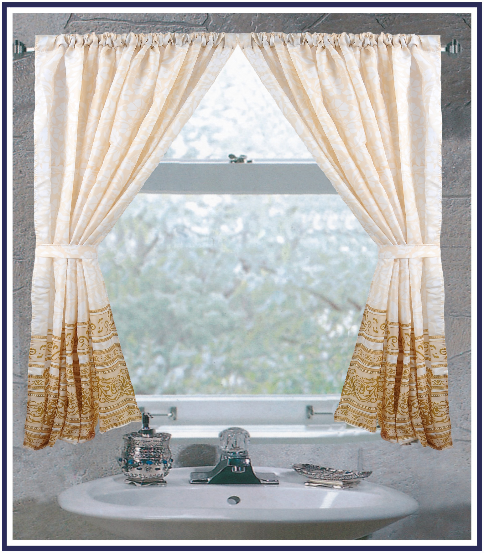 """""""Fleur"""" 100% Polyester Fabric Window Curtain With Two Tie"""