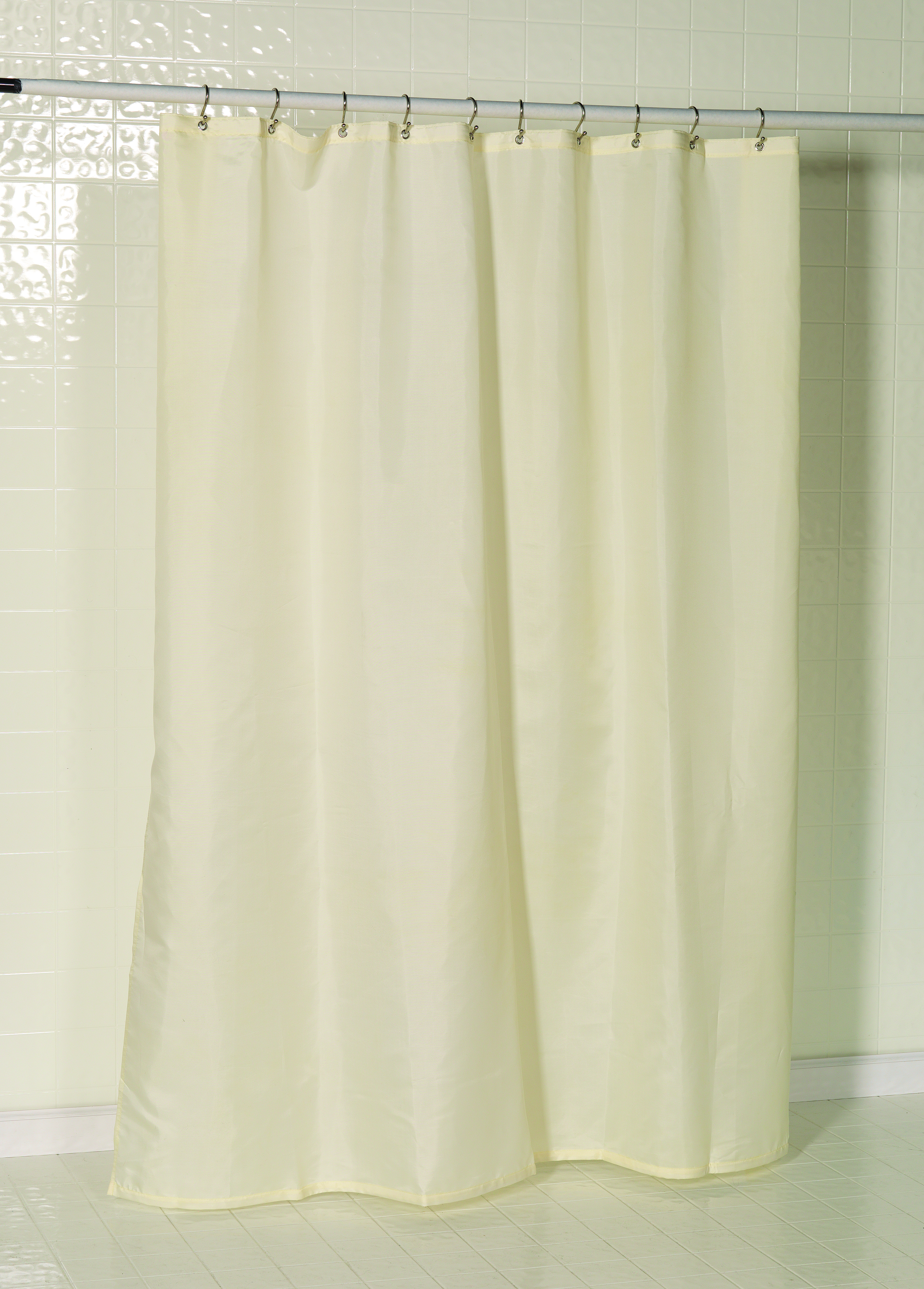 Nylon fabric shower curtain liner with reinforced mesh heade