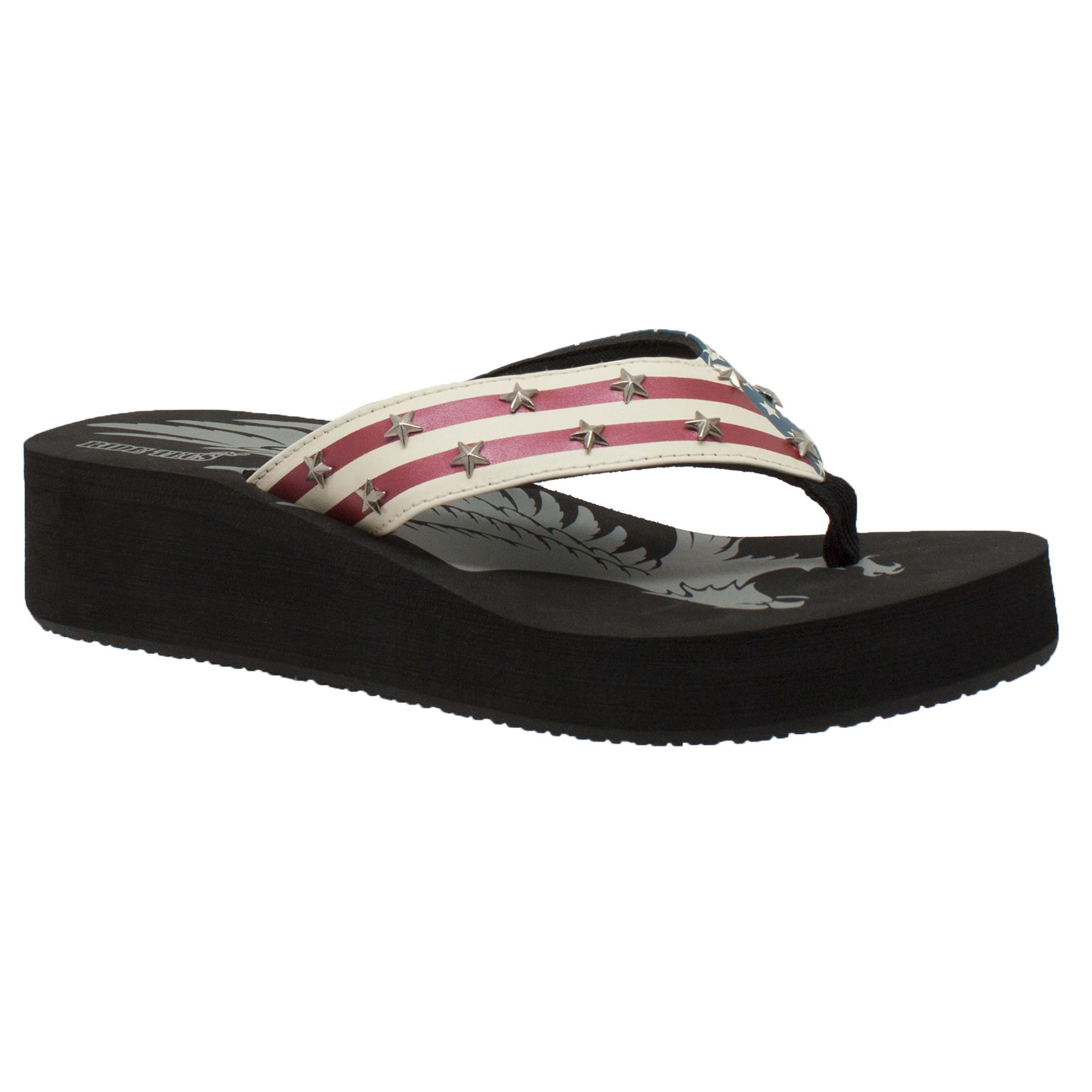 6 Women/'s Thong US Flag Sandal Black Size