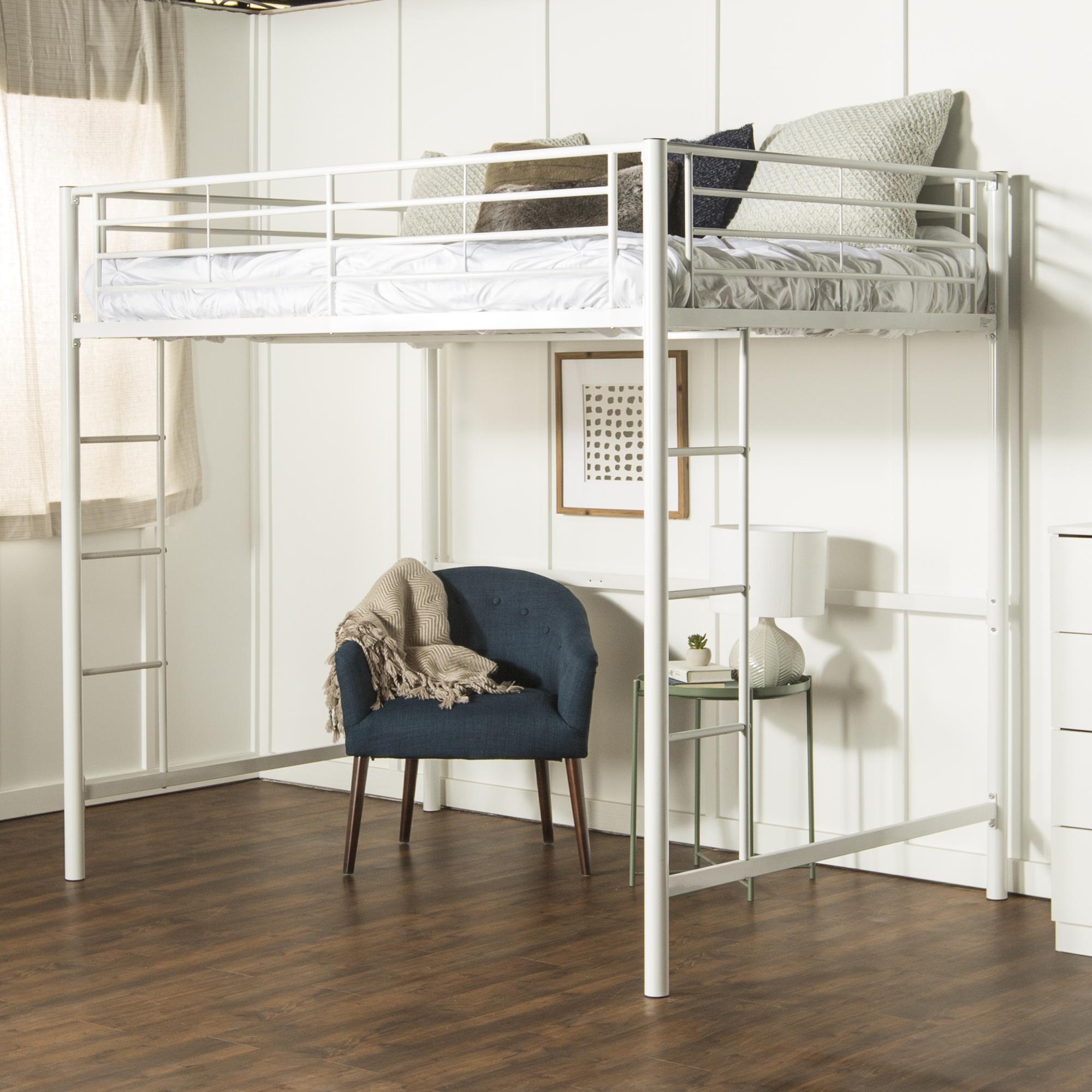 premium metal full size loft bed white ebay. Black Bedroom Furniture Sets. Home Design Ideas