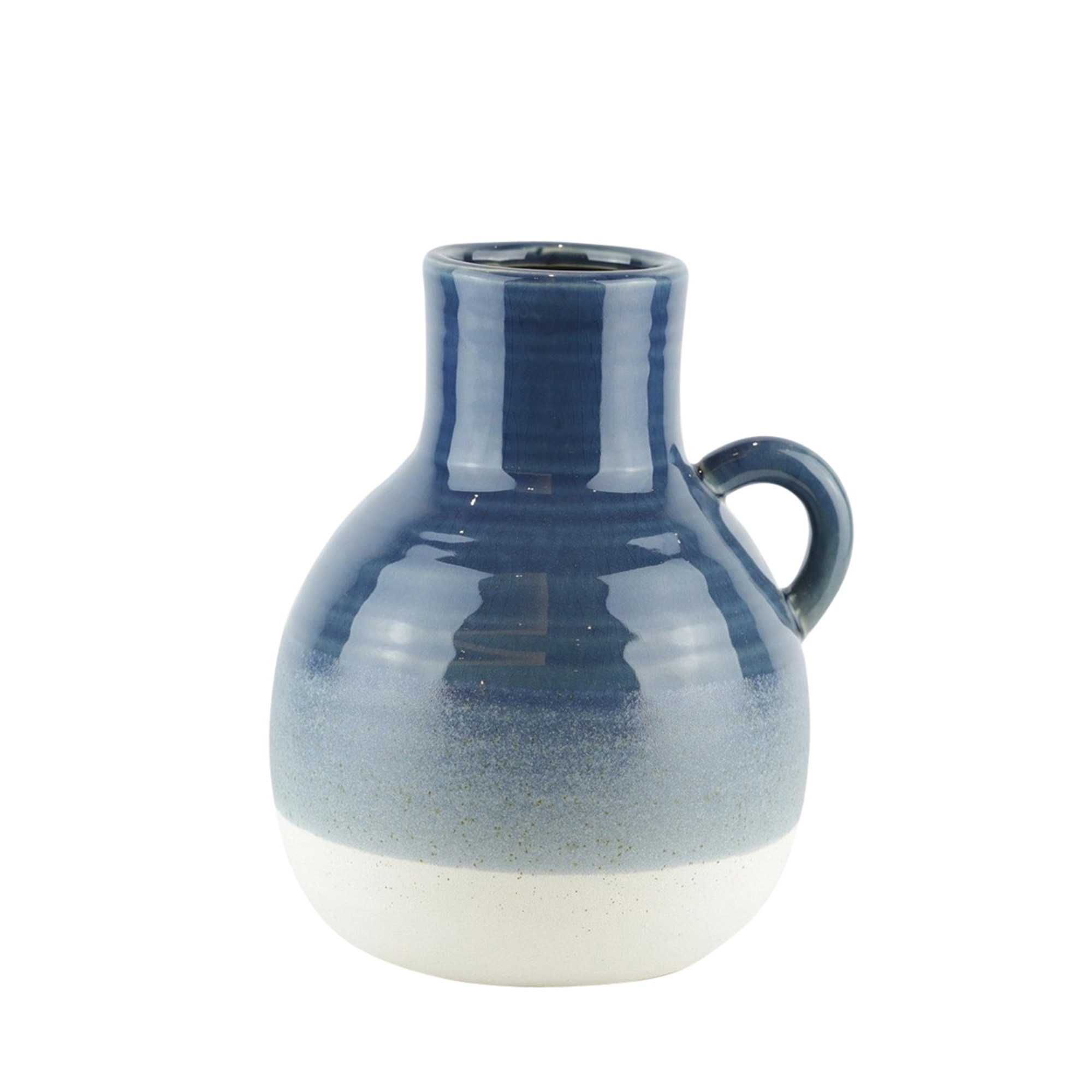 Details About Bellied Jug Shape Ceramic Vase With Ribbed Pattern Small Blue And White