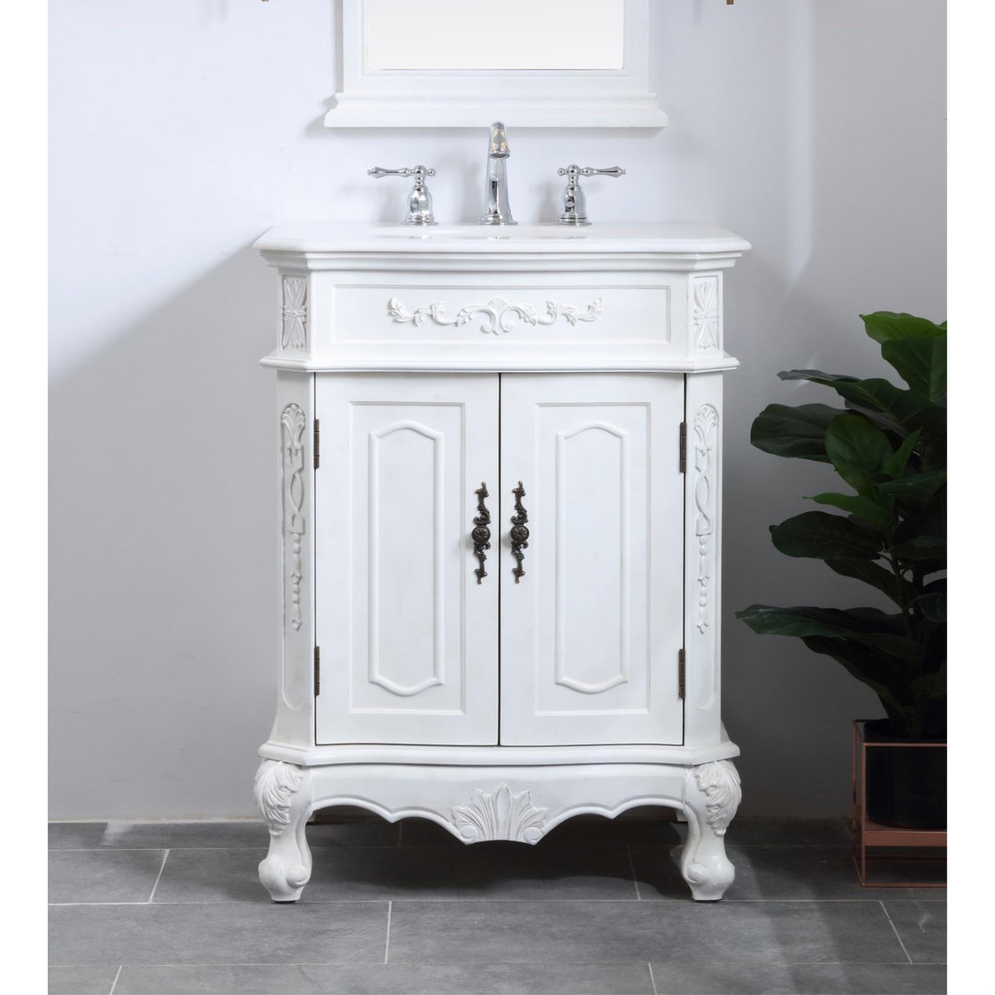 Vintage Bathroom Vanity Set: 27 In. Single Bathroom Vanity Set In Antique White