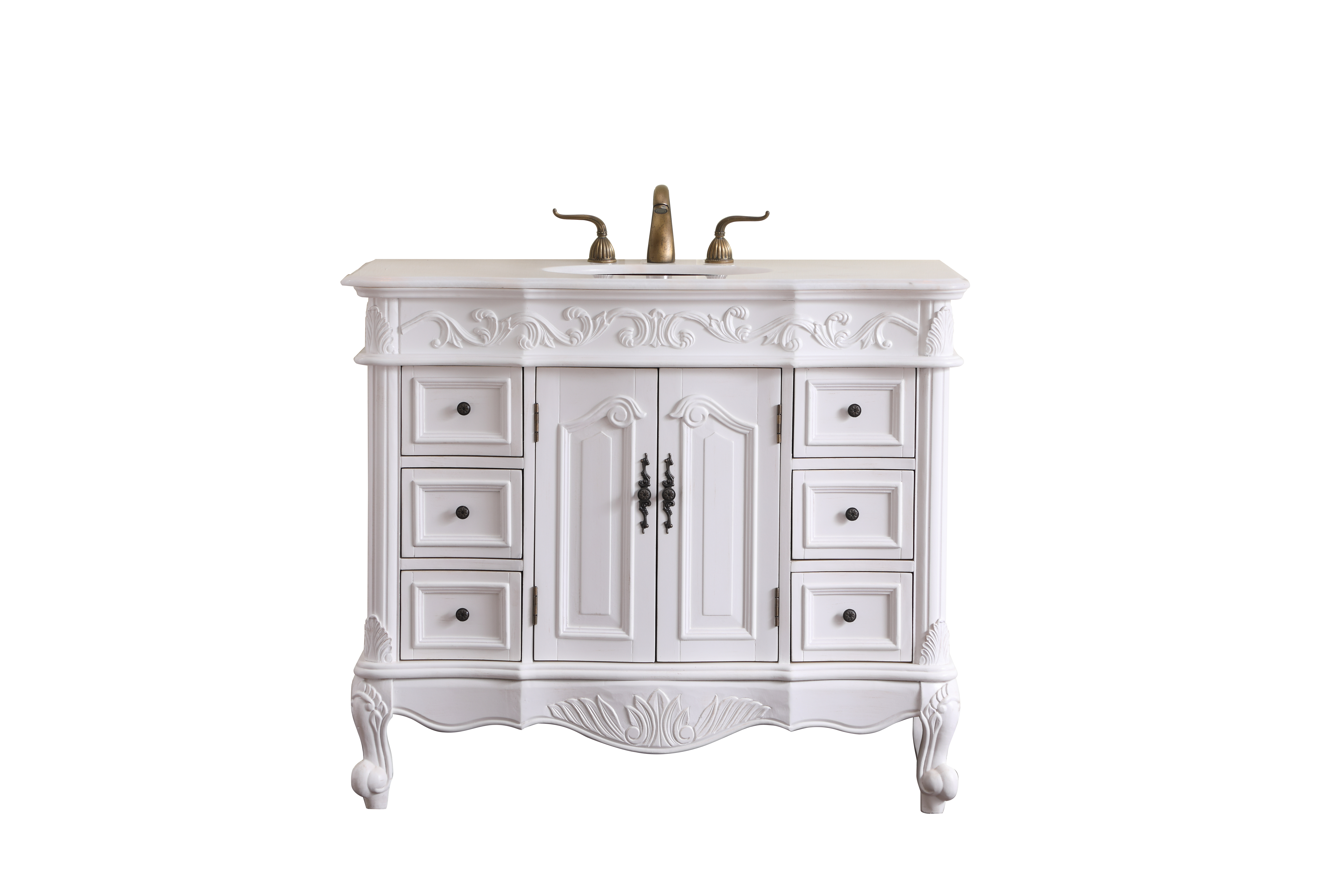 Details About 42 In Single Bathroom Vanity Set Antique White Vf38842aw