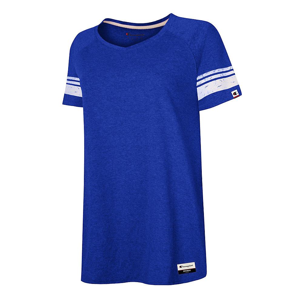 9086787408 Champion Authentic Originals Women's Triblend Short Sleeve Varsity T-shirt,  Athletic Royal Heather w