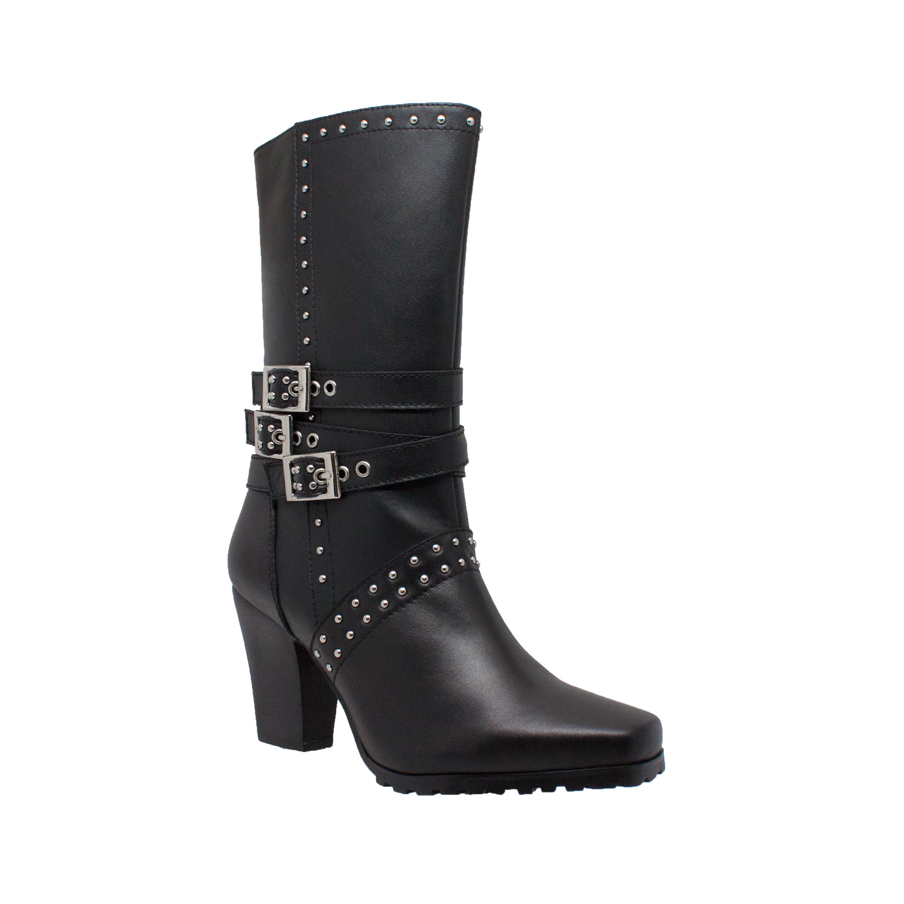 Women's 12 12 12  Heeled Buckle Boot Black, Size - 6 f0e692