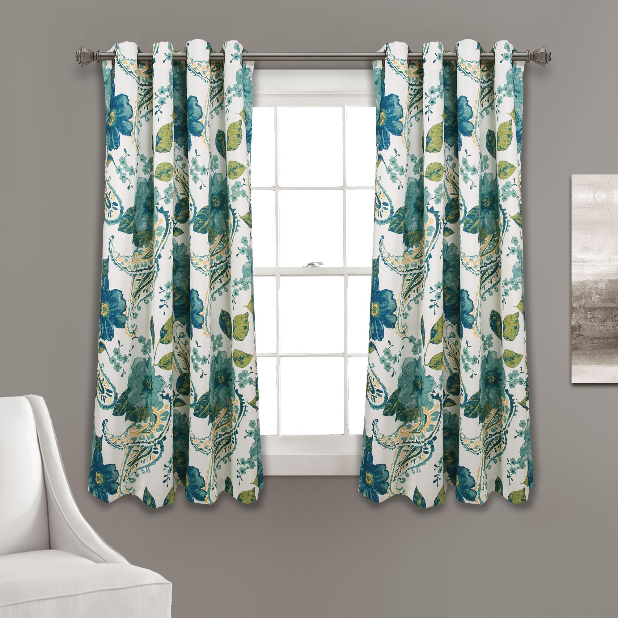 Floral Paisley Room Darkening Window Curtain Panels Blue