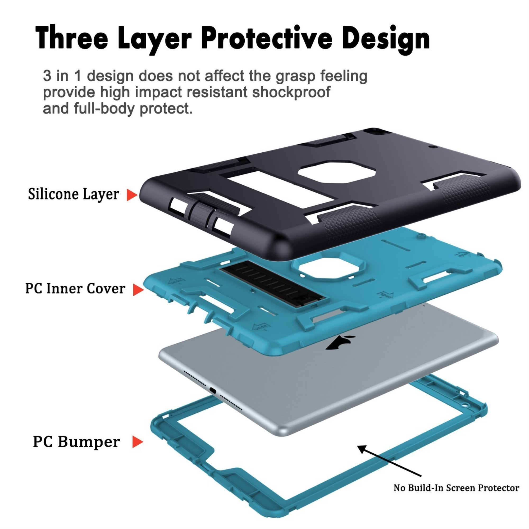 thumbnail 5 - For Apple IPad 2 A1395 / A1396 / A1397 Shockproof Duty Hard Stand Case Cover