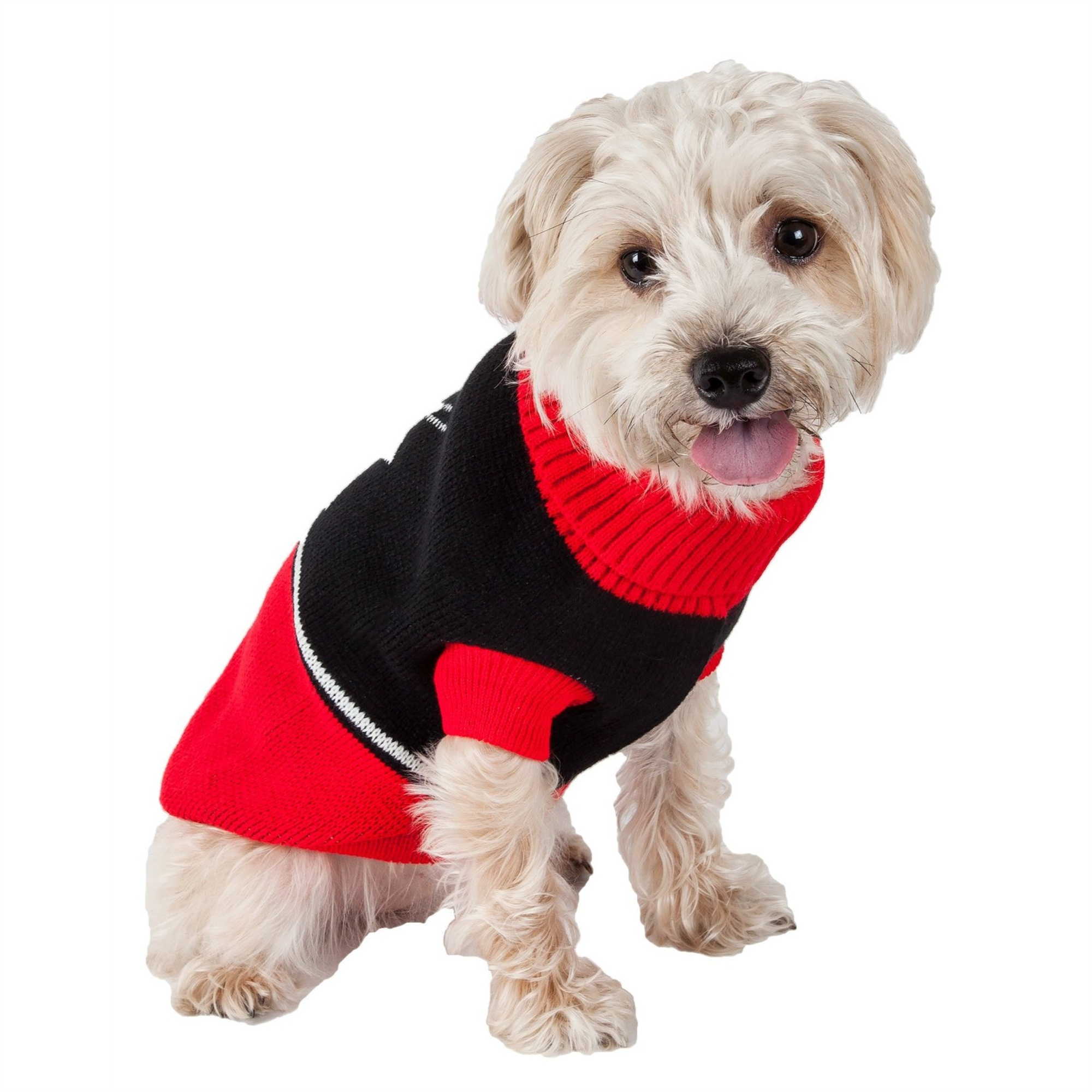 Snow Flake Cable-Knit Ribbed Fashion Turtle Neck Dog ...